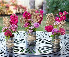 DIY florals with soup cans.