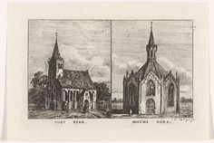 Kornelis Jzn de Wijs | Twee kerken, Kornelis Jzn de Wijs, 1842 - 1896 | Links een kerk, omgeven door bomen en bij de ingang een vrouw. Rechts een koepelkerk.