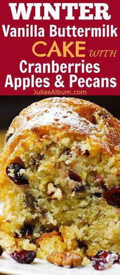 Cranberry-Apple Vanilla Buttermilk Cake with Pecans #sponsored