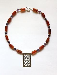 Carnelian & Amethyst Necklace with Fretworked pendant based on finds on a gold belt found at Sutton Hoo