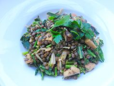 Mushroom-lentil risotto with sautéed kale flowers
