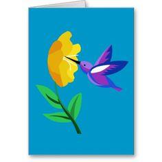 Cut Paper Hummingbird & Flower Cards
