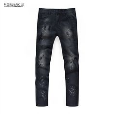 29.63$  Buy here - http://alii40.shopchina.info/go.php?t=32799337323 - MORUANCLE Hi Street Men Ripped Painted Jeans Pants Fashion Distressed Black Denim Joggers Slim Fit Washed Jean Trousers For Male  #SHOPPING
