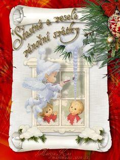 Veselé Vánoce obrázky, citáty a animace pro Facebook - ObrazkyAnimace.cz Christmas Greeting Cards, Christmas Greetings, Wreaths, Retro, Frame, European Countries, Czech Republic, Facebook, Picture Frame