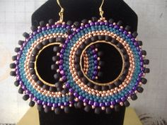 Beadwork Hoop Earrings Big Bold Magnificent Seed by WorkofHeart, $32.00
