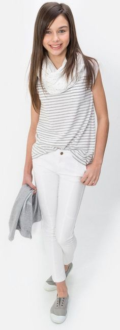 Whites are a nice tween fashion appropriate look for the summer. Add a white scarf, white jeans and a top with some design to make it complete. Love this tween girls outfit! Preteen Fashion, Teen Girl Fashion, Little Girl Fashion, Fashion Kids, Trendy Fashion, Fashion Clothes, Latest Fashion, Fashion Jewelry, Fashion Outfits