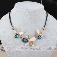 Fashion Jewelry: Beautiful Crystal Opal Flower Charms Necklace Leat...