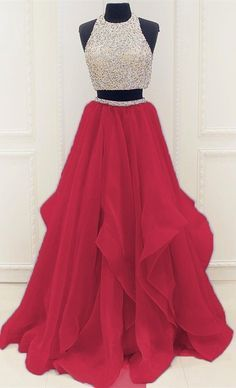 Red Beaded Prom Dress,Two Pieces A Line Prom Dress,Custom Made Evening Dress,136