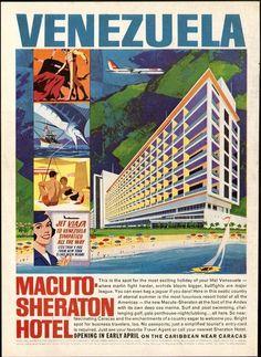 Póster propagandístico del hotel Macuto Sheraton, en el litoral central venezolano, 1963.