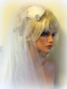 BRIDAL VEIL and FASCINATOR set Bridal Veil by kathyjohnson3, $58.00