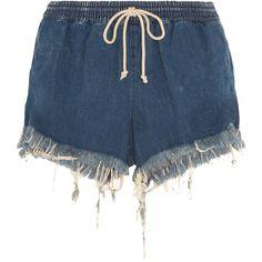 Chloé Frayed denim shorts (€385) ❤ liked on Polyvore featuring shorts, short, bottoms, dark blue jean shorts, short jean shorts, dark blue denim shorts, frayed jean shorts and pull on shorts