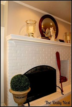 Painted fireplace before and after!