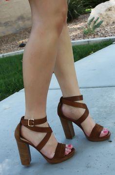 Brown Chunky Heeled Sandals = Need