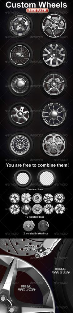 Isolated custom wheels pack (2 tires, 10 discs)  #GraphicRiver         Great collection of isolated custom wheels usable for images in design of sites, banners, booklets, posters, articles in magazines and more…   Pack includes 10 variation of wheels, you can combine them like you want.   In ZIP file you will find PSD files, with layers inside: – 2 tire, 10 discs, 2 brakes.   Hope you like it. Enjoy it!   Also you can order custom work – Send me a message     Created: 14February12…
