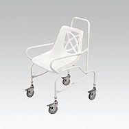 €78.50  Mobile Shower Chair Good quality affordable shower chair; Epoxy coated steel frame; Four braked swivel castors; Intregral arms give security; Available in fixed height or adjustable height; Maximum user weight 125kg/20st