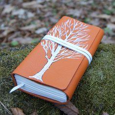 craftSOO - Leather journal, Hand bound leather journal, Notebook, Sketchbook,Orange  -White Tree
