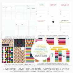 Live Free : Love Life Journal Cards Bundle 2...Free Jurnal Card print outs