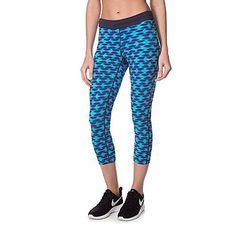 Sports clothes are getting more colourful and patterned. Nike cropped legging though JD sport