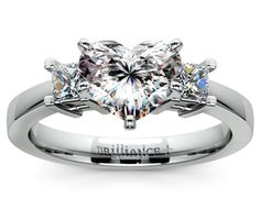 Heart Princess Diamond Engagement Ring in White Gold  http://www.brilliance.com/engagement-rings/princess-diamond-ring-white-gold-1/3-ctw