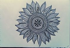 Sunflower Zentangle by LotusQueen-Andi.deviantart.com on @DeviantArt