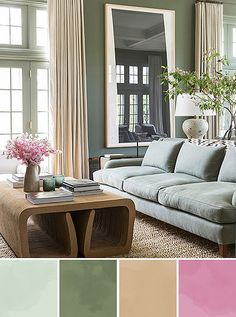 Soft sage green: Even the most pastel-resistant among us can probably get behind sage green. This dreamy shade is highly changeable, leaning warmer or cooler as the daylight shifts and as other colors are added or subtracted around it.  We're particularly fond of sage paired with crisp whites and natural accents, as in this light-filled living room. A natural-fiber rug and airy curtains set off the luminous sage-tone sofa, while walls in a deeper green add subtle contrast.