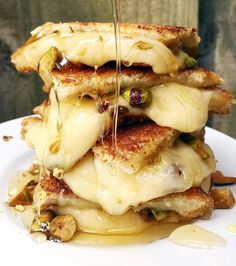 It's National Grilled Cheese Day! How about taking some cues from and trying this twist on an old classic – Havarti with pistachios and a drizzle of honey! National Cheese Lovers Day, National Grilled Cheese Day, Perfect Grilled Cheese, Smiths Food, Buzzfeed Food, Cafe Food, Food Photography, Sandwiches, Food Porn