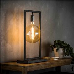 Table lamp Ayla old silver steel - Modern Industrial Light Fixtures, Industrial Lighting, Home Lighting, Lighting Design, Blitz Design, Rustic Floor Lamps, Rustic Home Design, Wooden Lamp, Pipe Lamp