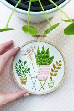 Content: Fabric with pre-printed pattern, embroidery needle, high-quality wooden hoop, DMC threads, and illustrated color and stitch guide. Diy Embroidery Kit, Wedding Embroidery, Wooden Embroidery Hoops, Modern Embroidery, Embroidery Designs, Handmade Gifts, Handmade Items, Plant Crafts, Frame Wall Decor