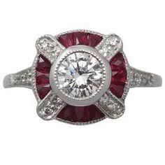 10.33 Carat Cushion Cut Thai Ruby and Diamond Cluster Ring at 1stdibs
