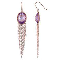 Sofia B Oval Amethyst Dangle Earrings