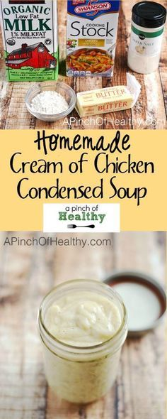 Homemade Cream of Chicken Condensed Soup - whether you are wanting to avoid all the sketchy ingredients or save yourself a trip to the store...this is a fantastic substitute for the canned condensed stuff. Tastes great, super easy & cheap to make. Tested and approved!   APinchOfHealthy.com