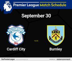 Match Schedule, Cardiff City, Premier League Matches, Burnley