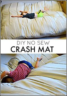How to make a DIY no sew crash mat for kids - great for kids with autism and/or sensory processing disorder! from And Next Comes L Homemade crash pad for kids: find out how to make a crash mat for kids using materials you likely have at home Sensory Tools, Sensory Diet, Sensory Issues, Sensory Therapy, Sensory Bags, Sensory Bottles, Sensory Motor, Diy Sans Couture, Crash Mat
