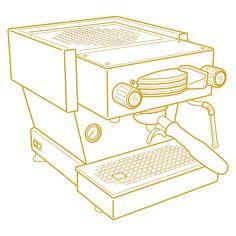 La-Marzocco_Linea_Mini_LMIllustration Coffee Latte Art, Coffee Logo, Coffee Type, Coffee Branding, Barista Machine, Automatic Espresso Machine, Coffee Tattoos, Coffee Equipment, Creative Coffee