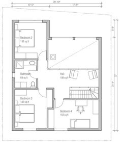 Contemporary Style House Plan - 4 Beds 2 Baths 1636 Sq/Ft Plan #537-3 Floor Plan - Upper Floor Plan - Houseplans.com