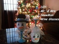 THE BEST DIY SNOWMEN TUTORIAL THAT I HAVE SEEN: Mr. and Mrs. SnowMan Wine Glasses - YouTube
