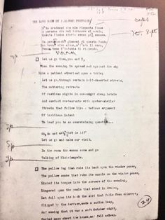 "POETRY's typescript of ""The Love Song of J. Alfred Prufrock,"" on T.S. Eliot's birthday, and ours."