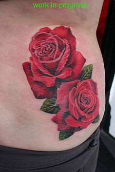 Realistic rose tattoo but smaller and maybe a couple more. Rose Tattoos For Girls, Rose Flower Tattoos, Floral Tattoos, Symbolic Tattoos, Unique Tattoos, Beautiful Tattoos, Waist Tattoos, Body Art Tattoos, Tatoos