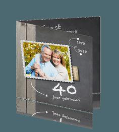 Hippe uitnodigingskaart jubileum 40 jarig huwelijk foto. 40 jaar getrouwd uitnodigingskaartje