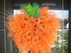 Deco Mesh Small Spiral Pumpkin Wreath by lilmaddy12 on Etsy