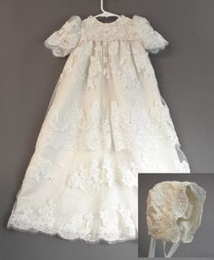 This christening gown was made from Anna-Kathryn's wedding dress. It is easy to make something beautiful when you start with something so beautiful. The wedding dress was covered in lovely lace and bead work. Anna-Kathryn wanted something that a prince or princess could wear so sent along a photo of young prince George in his baptism gown. Olga and I took that as permission to go as ornate as we could :)