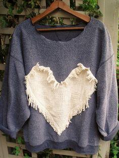 Refashioned 3X Inside-Out Funky Heart Sweatshirt/Grey by SheerFab