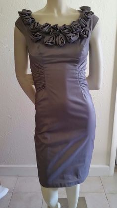 Adrianna Papell Elegant Dress Wedding Evening Cocktail Roses Gray Size 4 | eBay
