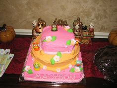 My sisters baby shower cake for my niece owl theme I made her