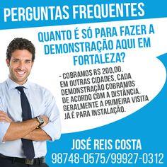 Só para fazer a demonstração aqui em Fortaleza quanto cobramos? R$ 200,00. Em outras cidades, cada demonstração cobramos de acordo com a distância. Geralmente a primeira visita já é para instalação. Os vídeos para demonstração estão no site #Água #DSAL  Acesse nosso blog: dsal100.blogspot.com.br