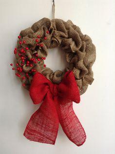 Burlap Christmas Wreath Red Wreath Tan Wreath by JBJunkMarket, $58.00