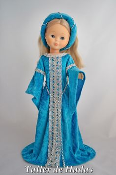 Nancy in blue Medieval gown Doll Clothes Patterns, Clothing Patterns, Sewing Patterns, Antique Dolls, Vintage Dolls, Vestidos Nancy, Nancy Doll, Medieval Gown, American Girl Crafts