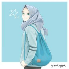 Anime Art Beautiful Hijab New Ideas Hijabi Girl, Girl Hijab, Girl Cartoon, Cute Cartoon, Hijab Anime, Anime Art Girl, Anime Girls, Hijab Drawing, Islamic Cartoon