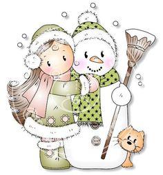 WINTER SNOWMAN AND LITTLE GIRL CLIP ART