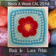 Block 16:  Lace Petals {Photo Tutorial} :http://www.lookatwhatimade.net/crafts/yarn/crochet/block-a-week-cal-2014/block-16-lace-petals-photo-tutorial/